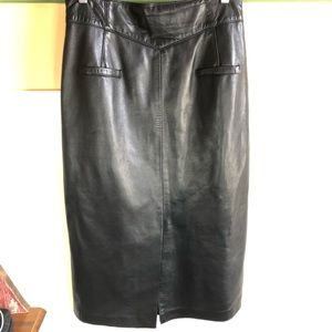 Maxima long black leather skirt Sz 14 fully lined